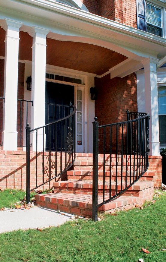 curved front steps lead up to expansive front porch designed and built by georgia front porch. Black Bedroom Furniture Sets. Home Design Ideas