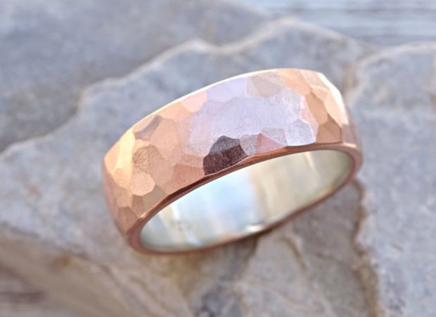 Wide Mens Wedding Band Copper Silver Cool Ring Rustic Alternative