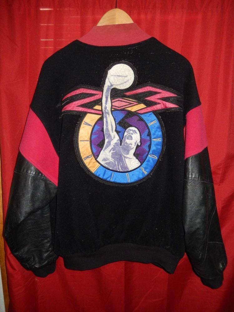 a96c98a8abdba0 Vintage 1990 s Nike Air Jordan Leather   Wool Jacket Bomber Varsity Rare 6  7 8  Nike  VarsityBaseball