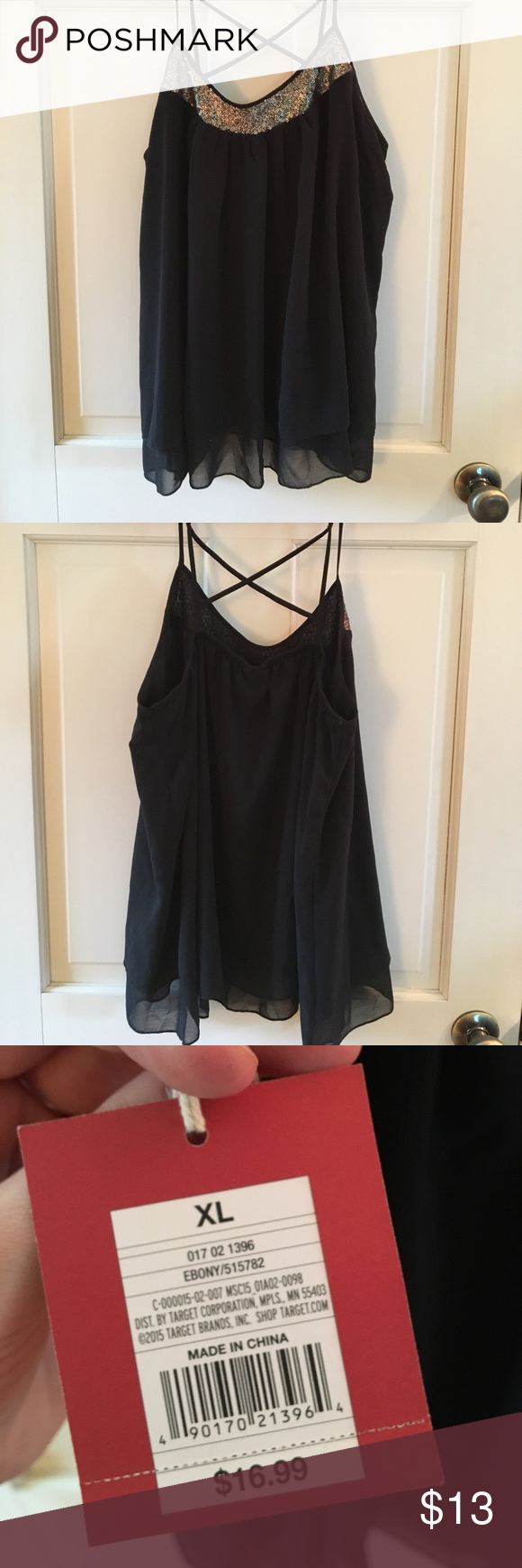 Brand new black embellished tank Mossimo tank top with gold sequin embellishment. Very cute! Mossimo Supply Co. Tops Tank Tops