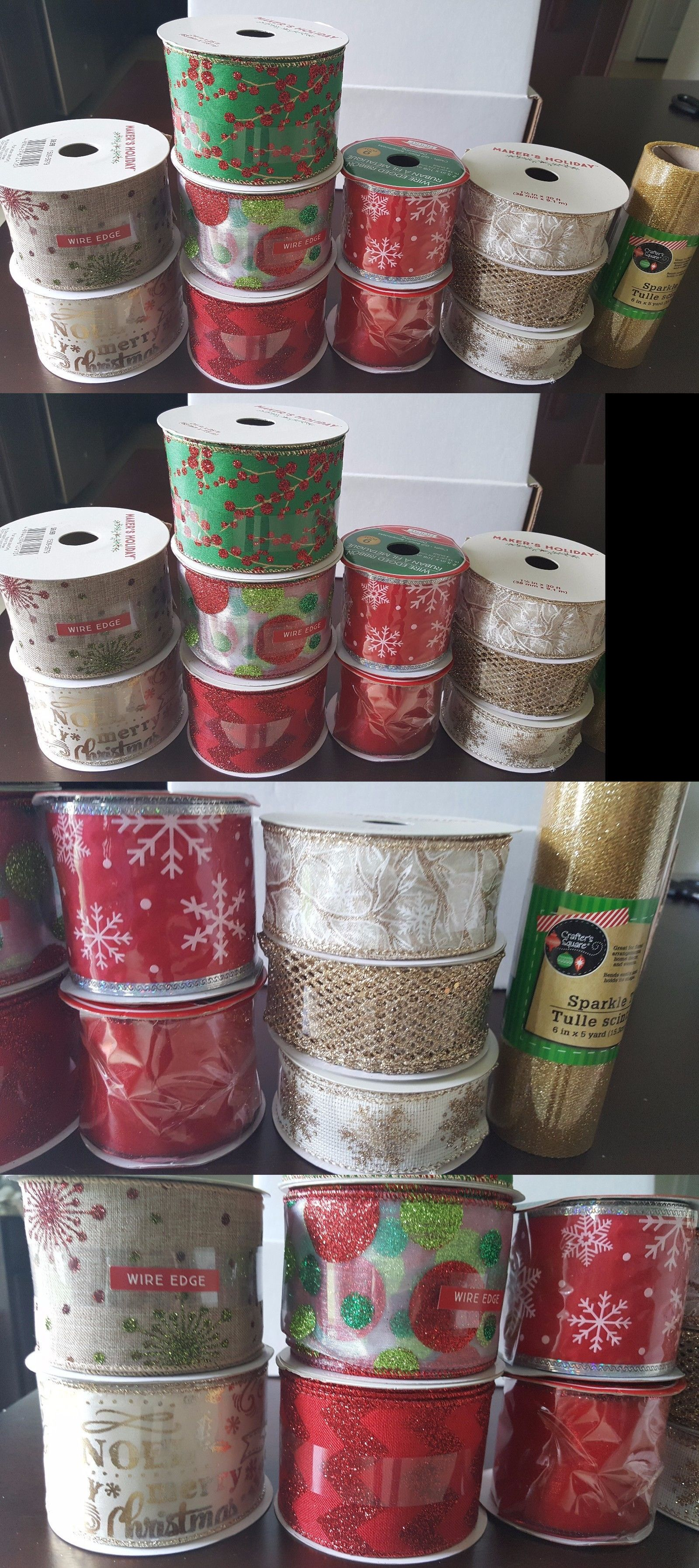 Ribbon 71224 Assorted Christmas Satin Wired Ribbon Lot 11 Styles