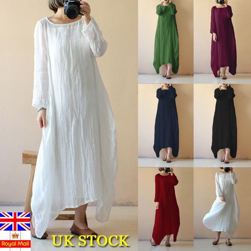 UK Summer Women Sleeveless Cotton linen Long Maxi Kaftan Dress Plus Size 6-18