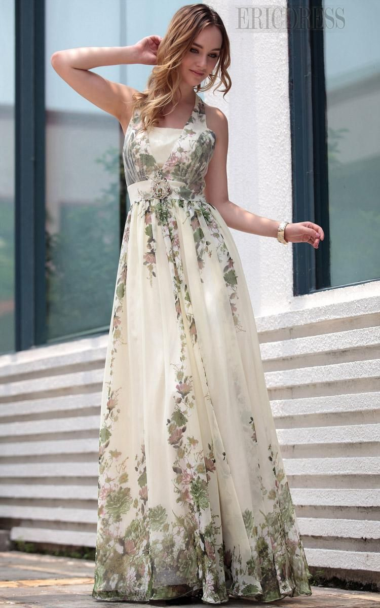 Print Chinese Style Halter Empire Floor-length Prom Formal Dress