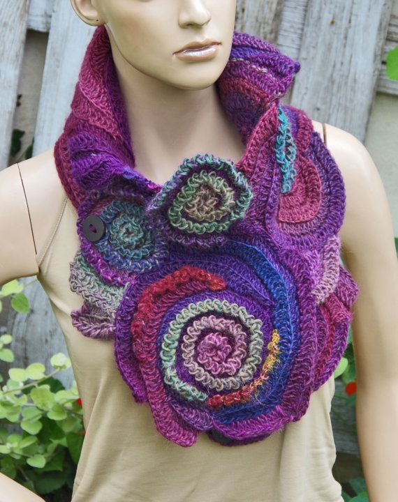 Crochet  Scarf Capelet Woman winter fashion Neck Warmer Freeform crochet  Purple Pink Green Womens scarf, Freeform Crochet scarf/gift