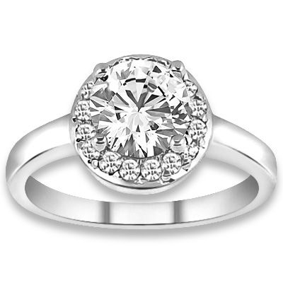 0.62 ctw 14k WG Natural G-H Color, I1 Clarity, Accent Diamonds Engagement Ring
