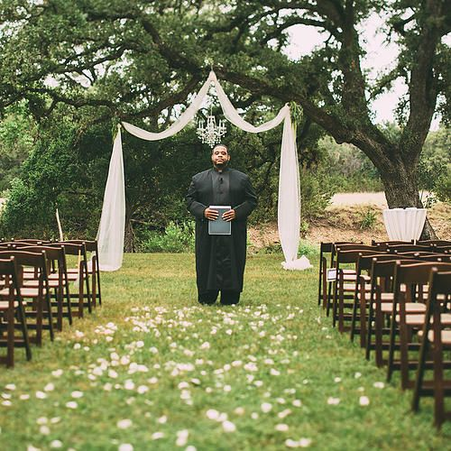 Ceremony Under A Tree: Ivory Tulle Arch Under The Oak Tree With Floating Crystal