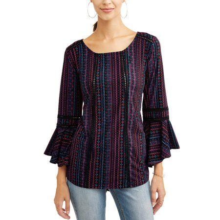 51babd2d1398b Concepts Women s Bell Sleeve Top with Keyhole - Walmart.com ...