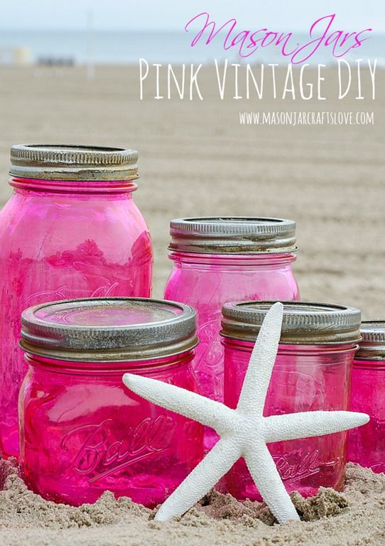 Pink Mason Jars DIY with Mod Podge and Food Coloring - Mason Jar Craft Ideas - Vintage Look Mason Jar DIY - Vintage Mason Jars - Pink Mason Jars