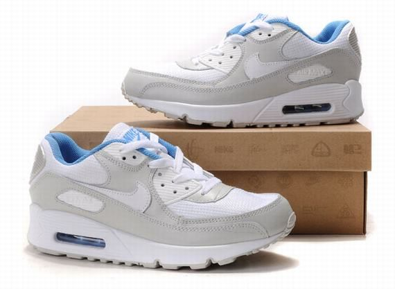 08d2ee8e82f4 Nike Air Max 90 Femmes Blanc Gris Bleu Chaussures | Shoes | Nike air ...