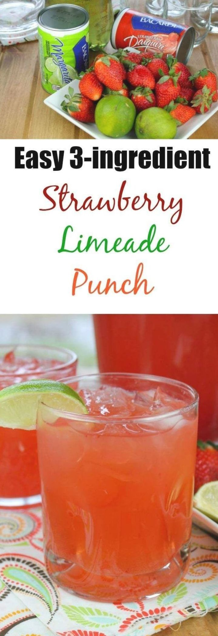 Easy Strawberry Limeade Punch Is Incredibly Easy And A Delicious Family Friendly Party Punch T In 2020 Easy Fruity Cocktails Limeade Punch Recipe Easy Alcoholic Drinks