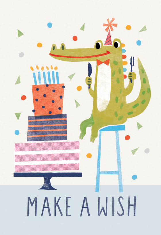 Wishful Thinking Birthday Card Free Greetings Island Happy Birthday Illustration Happy Birthday Cards Birthday Card Design