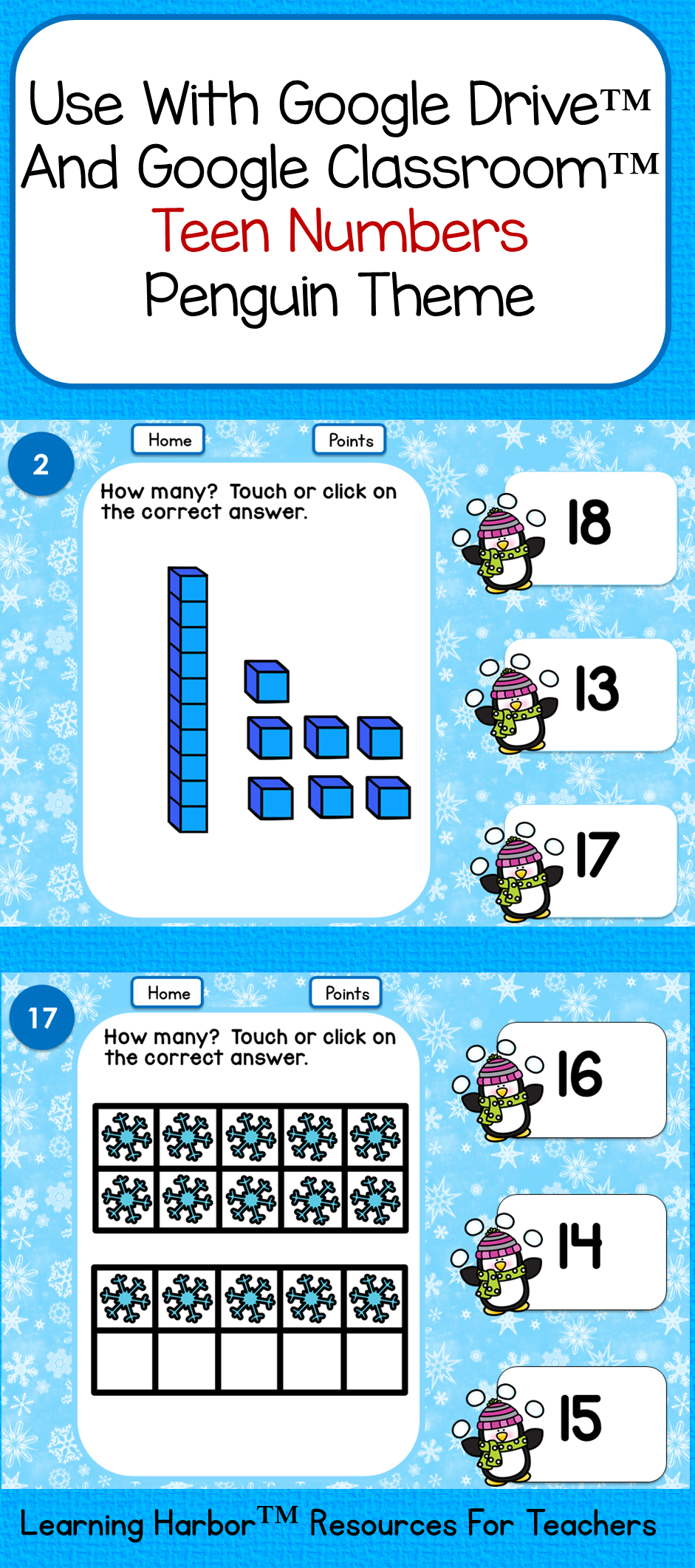 Penguins Teen Numbers Tens Blocks and Ten Frames for Google ...
