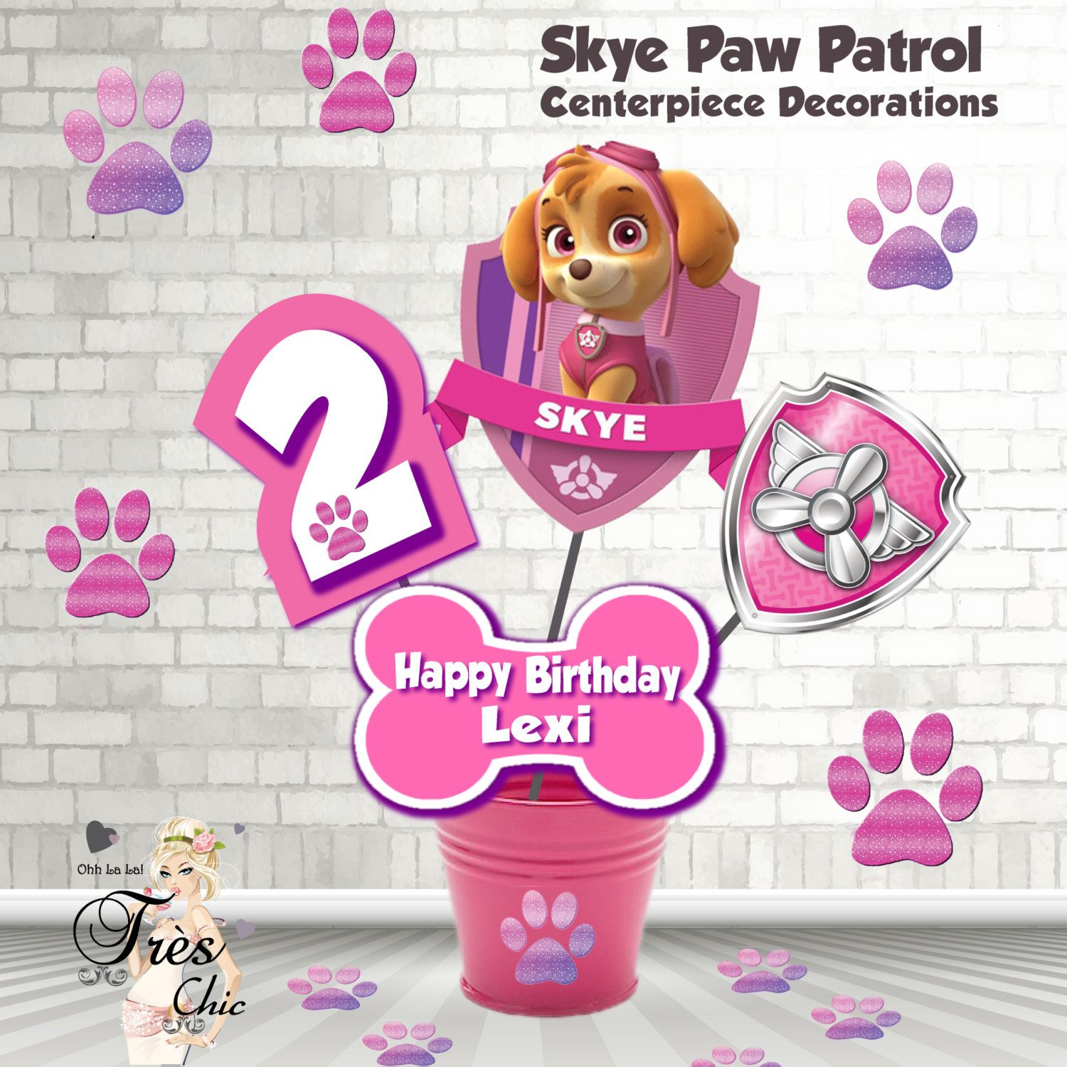 Skye Paw Patrol Birthday DecorationsSkye Large CenterpieceSkye InvitationPaw InvitationSkye Party SuppliesSkye By