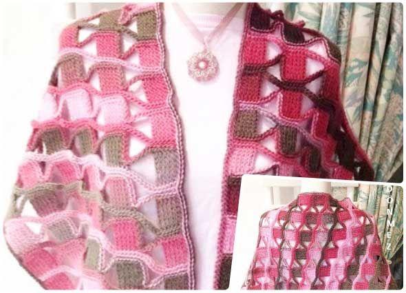 Punto mosaico o azulejos a crochet ideal para esclavinas   Mantel ...