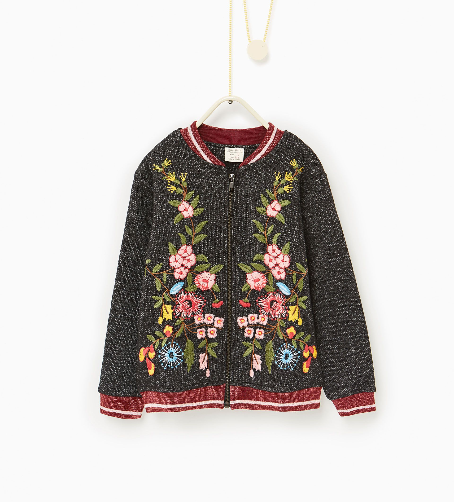 Image 2 of Embroidered plush bomber jacket from Zara