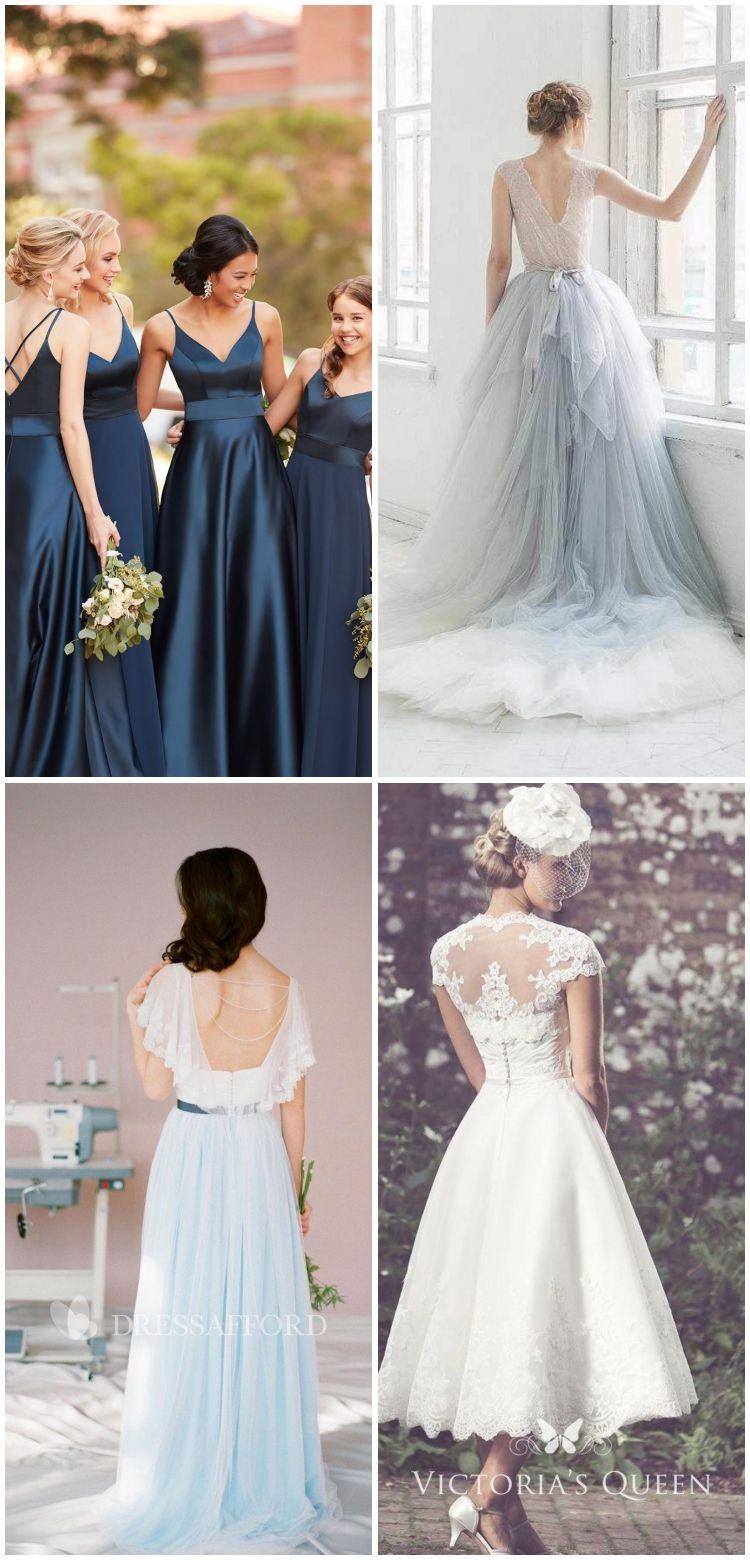 Elegantes Kleid für die Brautjungfer aus Satin in Marineblau