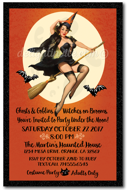 Pin up witch halloween party invitations vintage for Vintage halloween party invitations