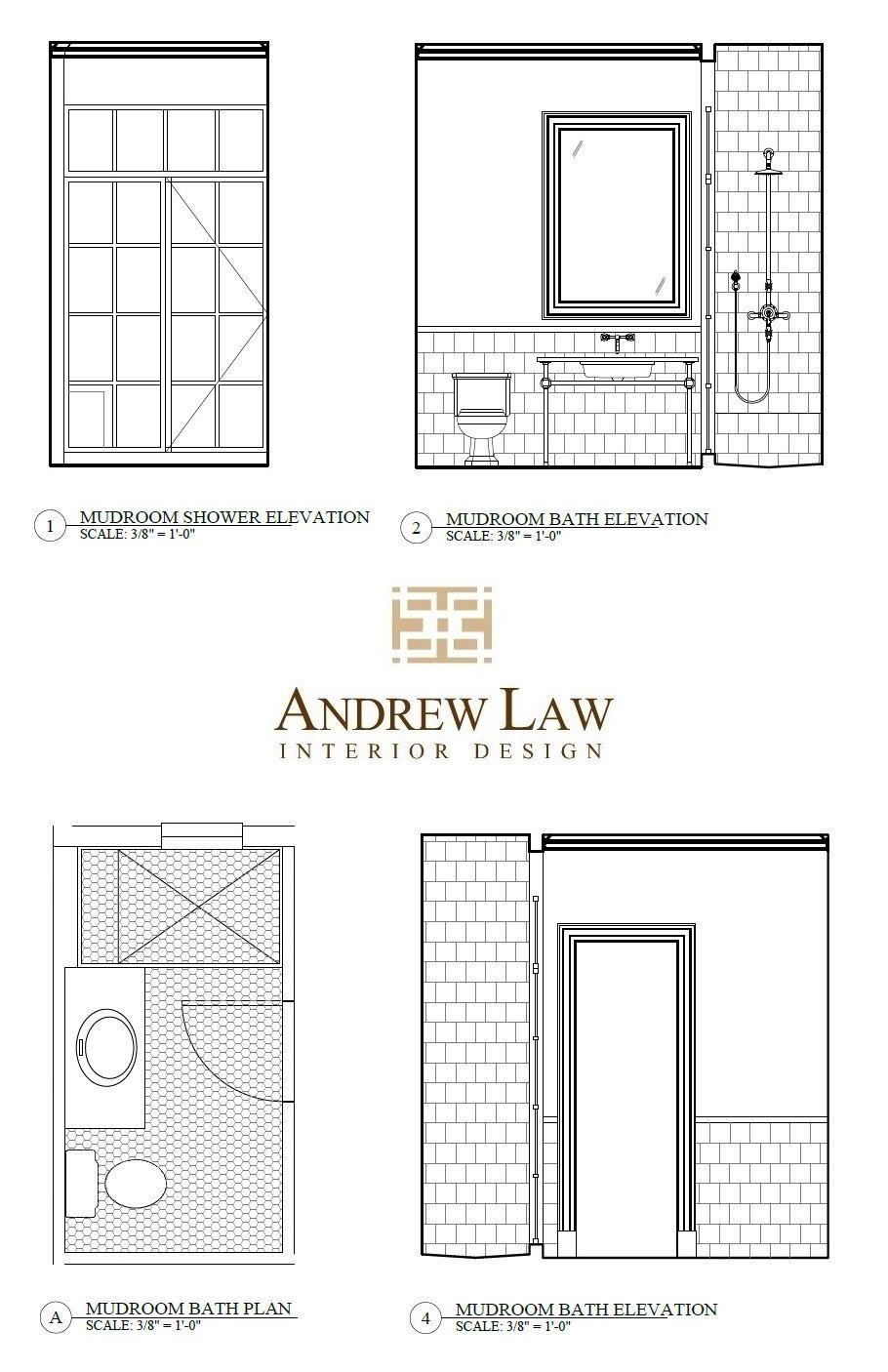 Bethesdastyle Mudroom Bath Elevations From Andrew Law Interior