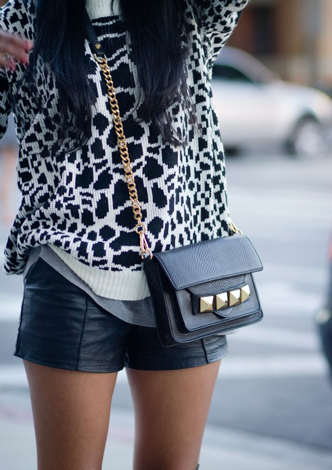leather shorts and bag