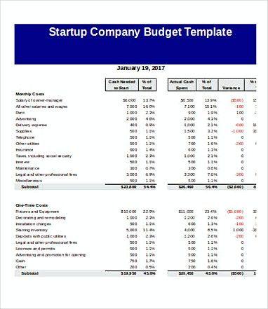 company budget templates