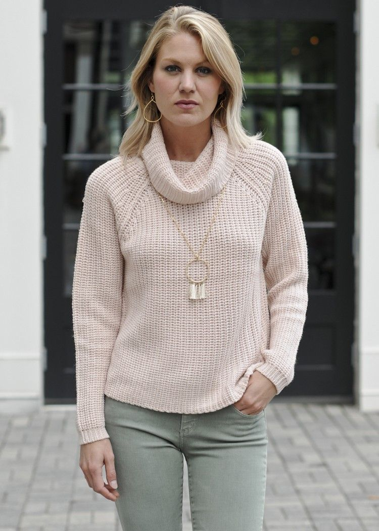RD Style Lola cowl neck, blush color cowl neck sweater, chunky ...