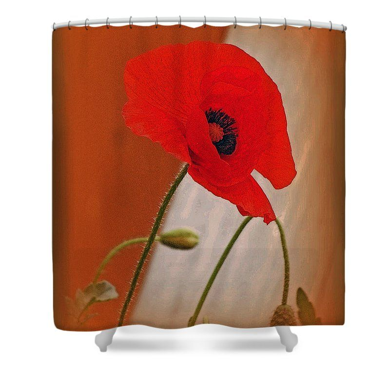 Red poppy and buds shower curtain for sale by kay novy mightylinksfo