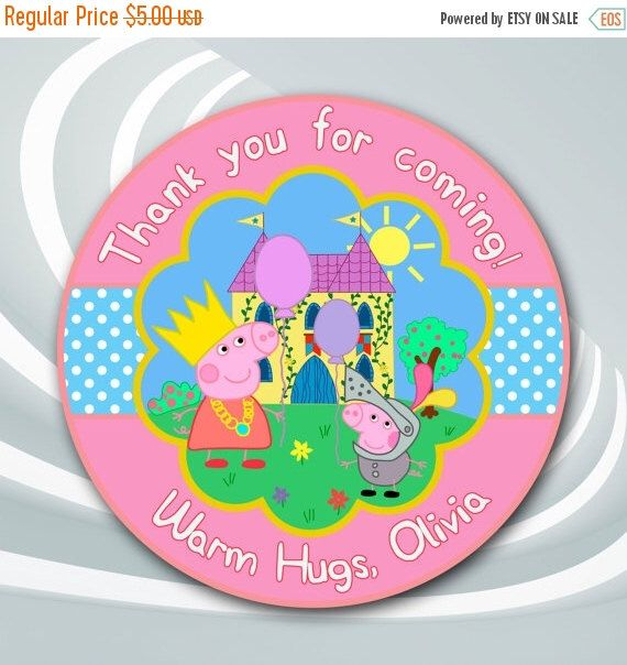 On sale 30 peppa pig tags peppa pig thank you sticker peppa pig