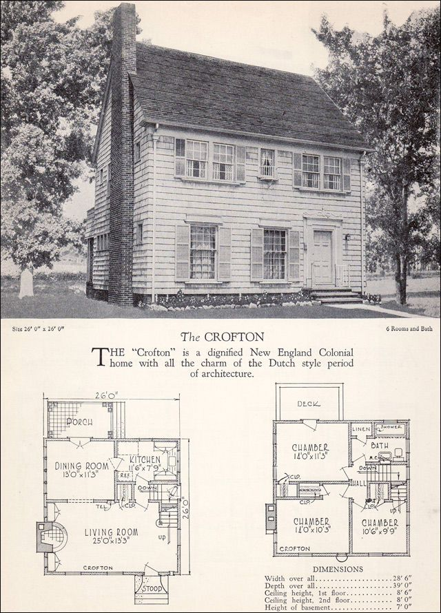 The Crofton 1928 Home Builders Catalog Colonial House Plans Historical House Plans Colonial House