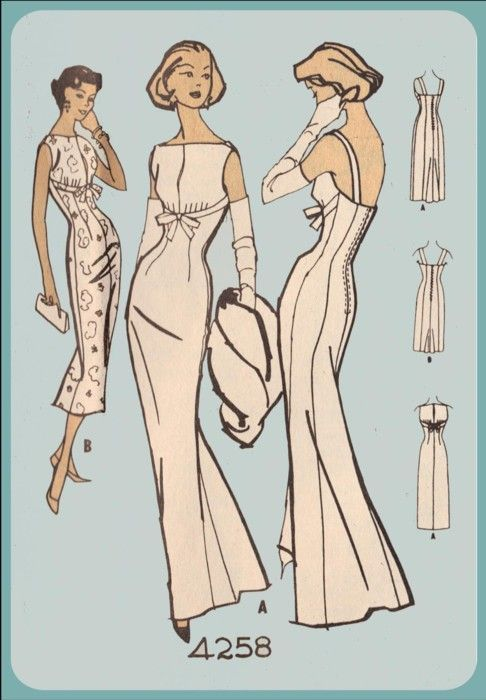 1950s McCall\'s 4258 Pauline Trigere vintage sewing pattern evening ...