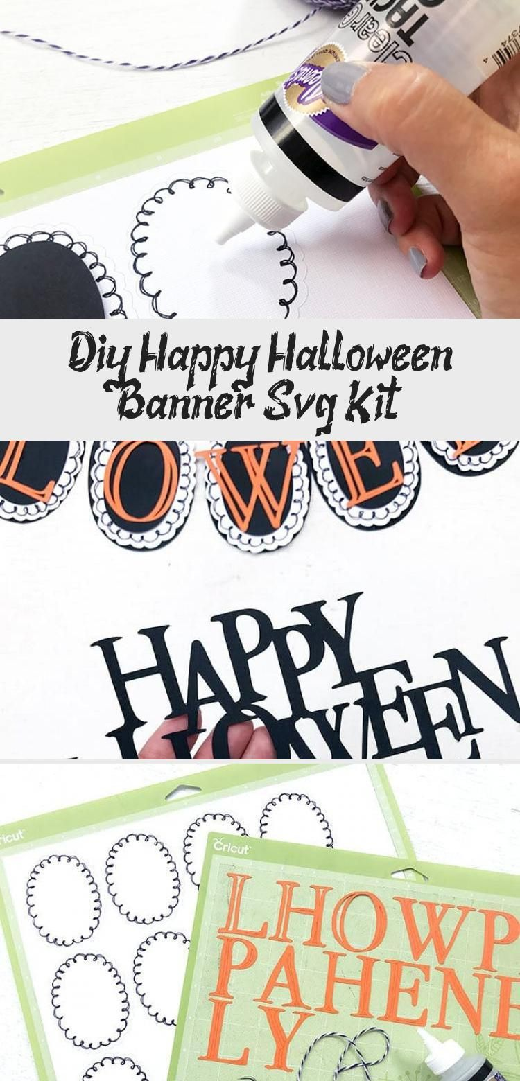 DIY Happy Halloween Banner SVG Kit - 100 Directions #bannerLetters #Sororitybanner #Paperbanner #bannerArquitetura #bannerDecor #happyhalloweenschriftzug