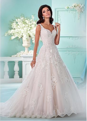 Gorgeous Tulle V-neck Neckline A-line Wedding Dresses With Lace ...