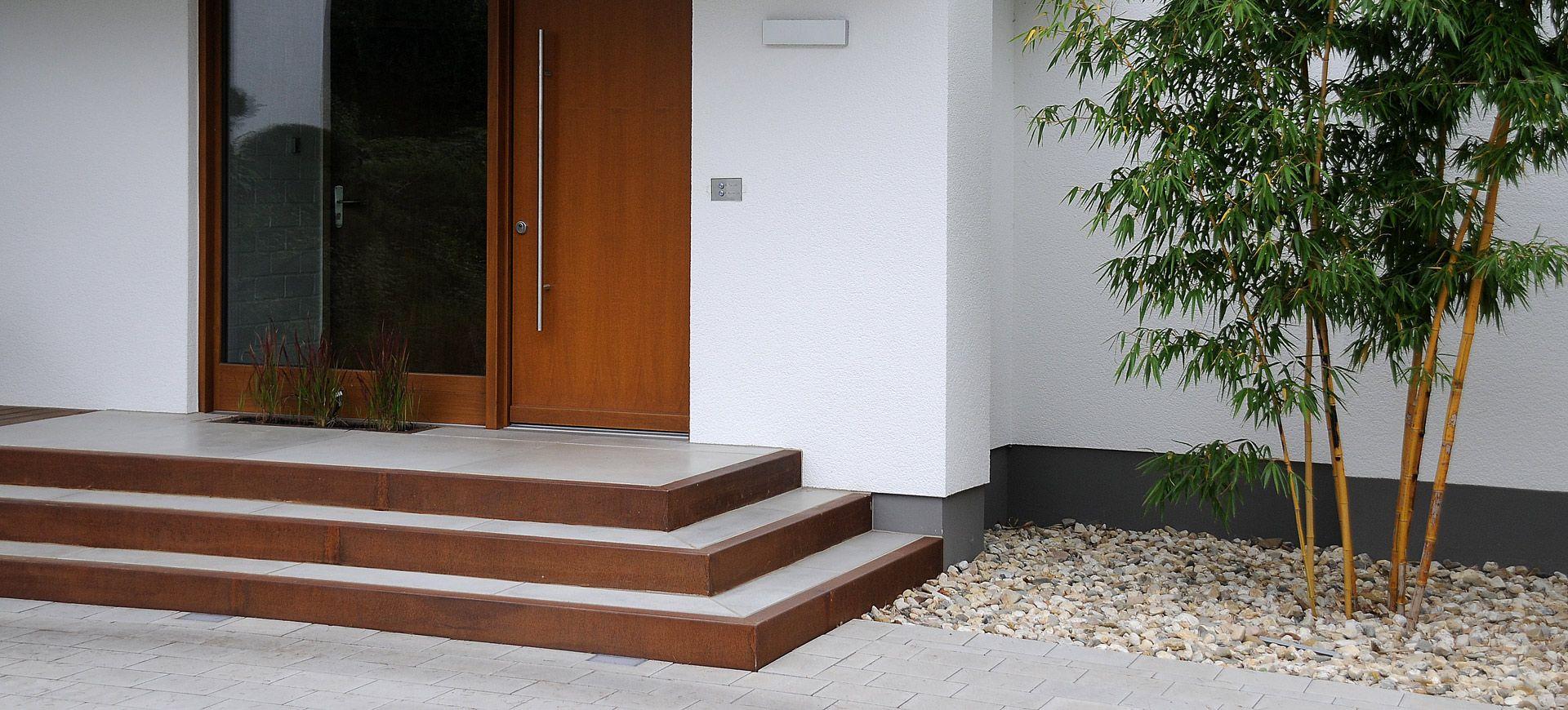 treppe cortenstahl architektur und garten pinterest cortenstahl treppe und eingang. Black Bedroom Furniture Sets. Home Design Ideas
