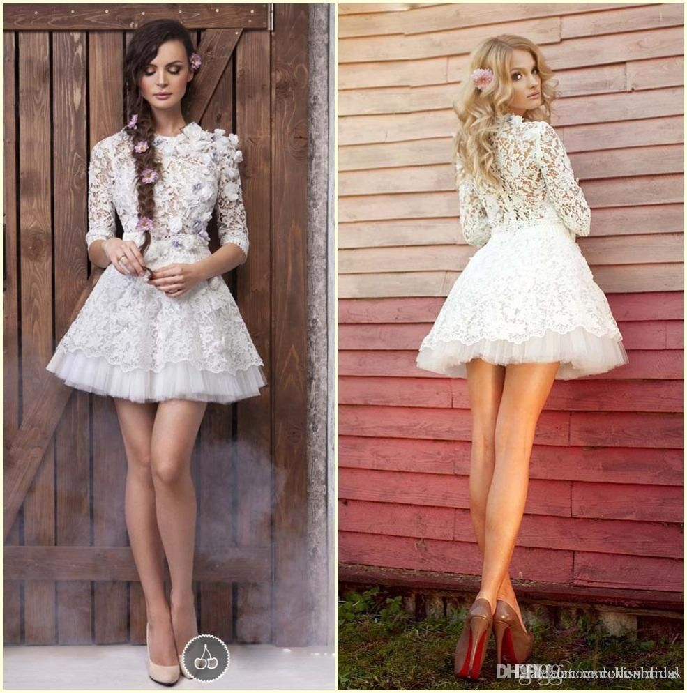 2015 1 2 long sleeve lace prom dresses white flower for Short white lace long sleeve wedding dress