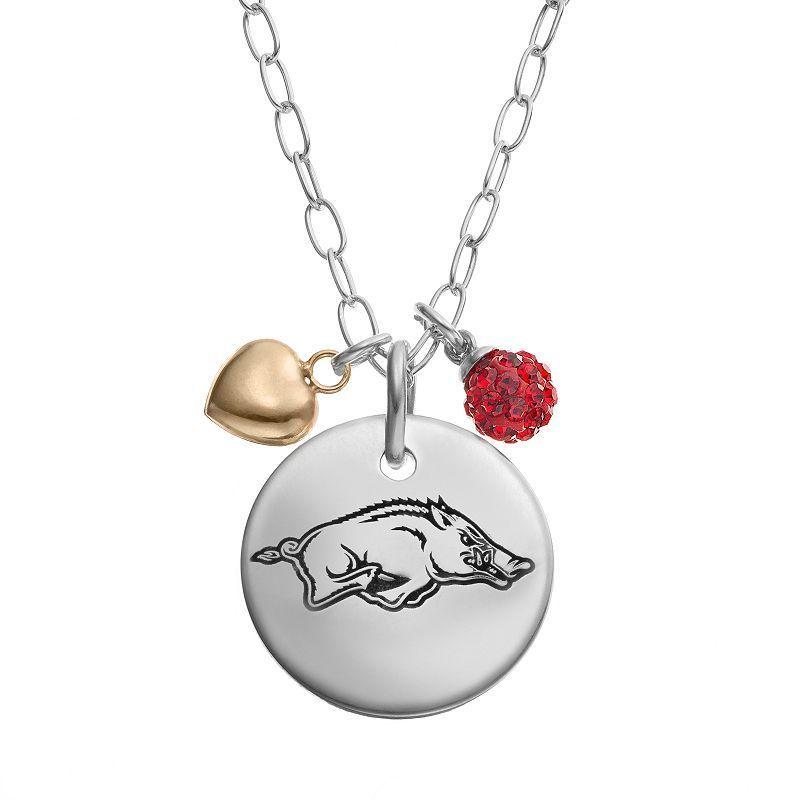 Fiora Crystal Sterling Silver Arkansas Razorbacks Team Logo & Heart Pendant Necklace, Red