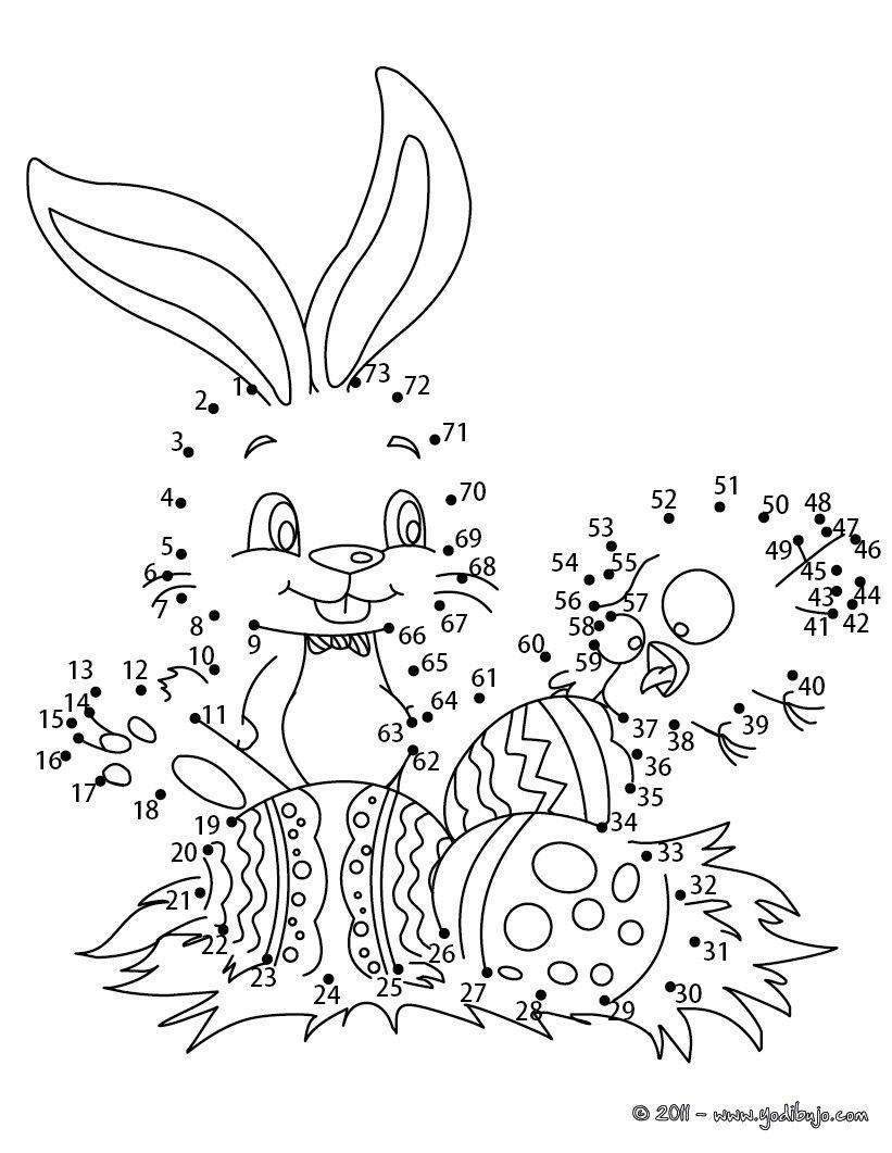 Hoja para imprimir : Juego unir puntos conejo y huevos de