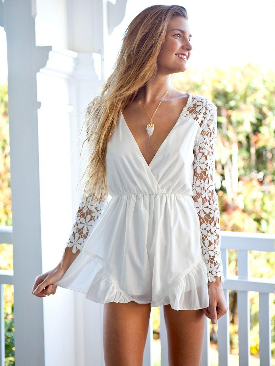 d93d24583808 white lace sleeve romper  UNIQUE WOMENS FASHION