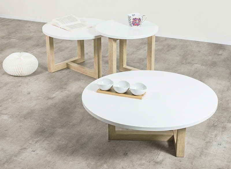 Table basse scandinave ronde tables - Table basse blanche ronde ...
