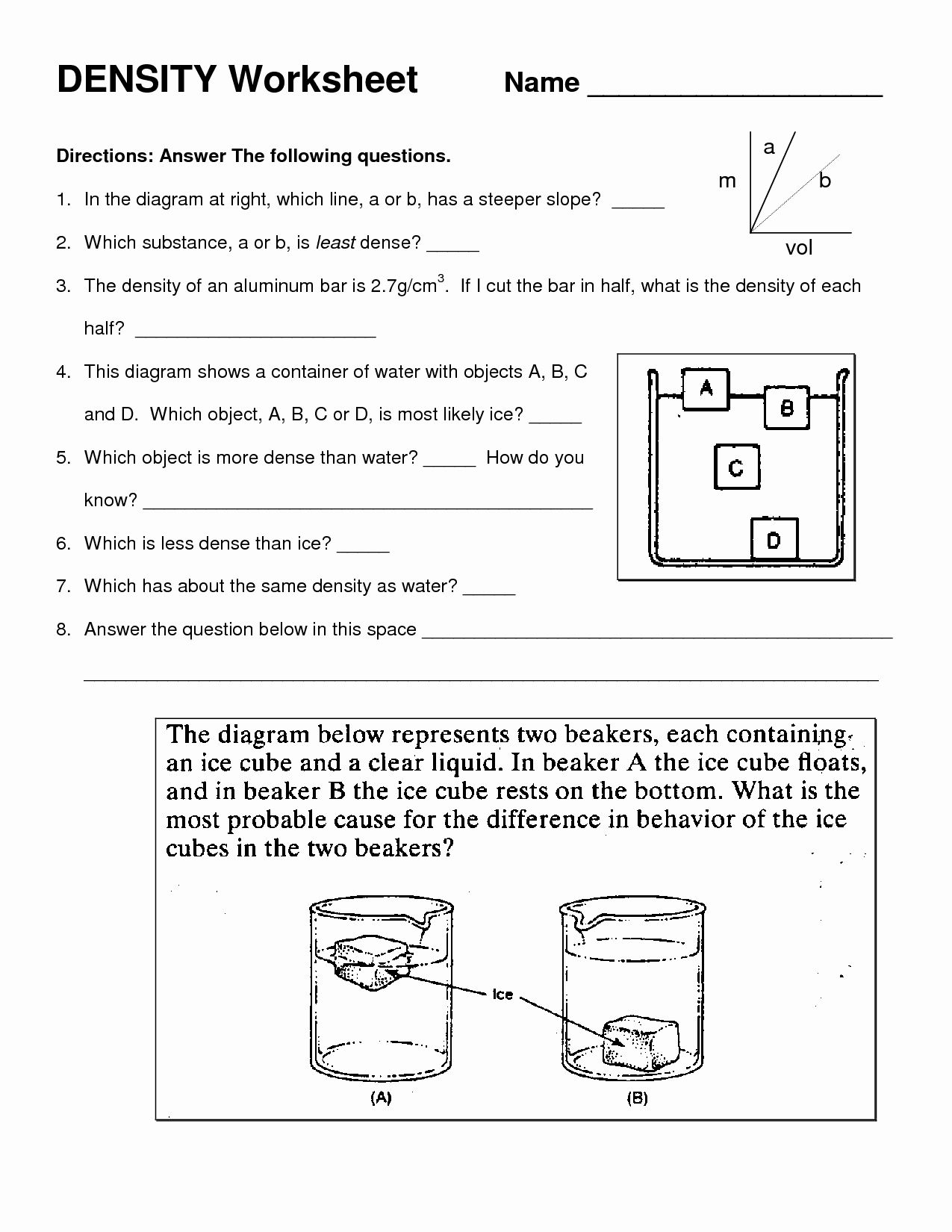 Density Calculations Worksheet Answers Lovely Density