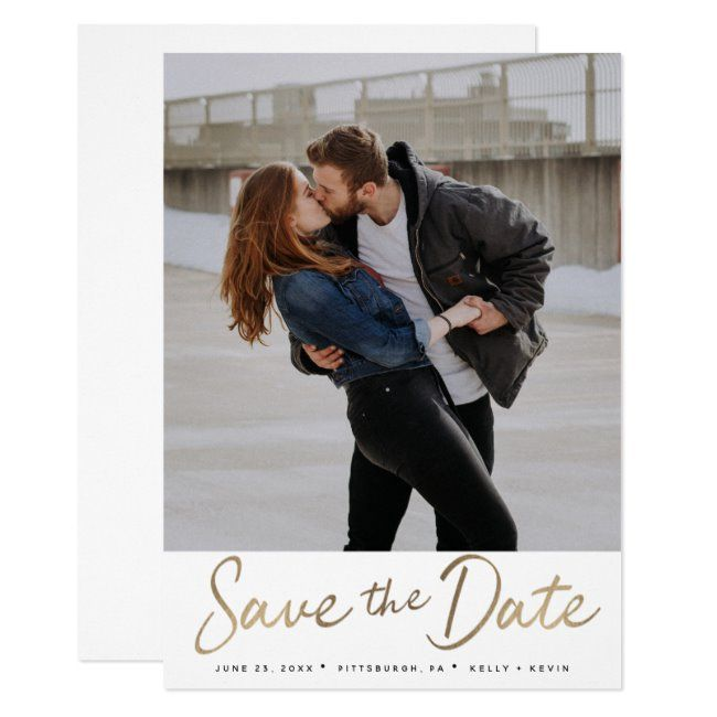 Gold Script Save The Date Invitation