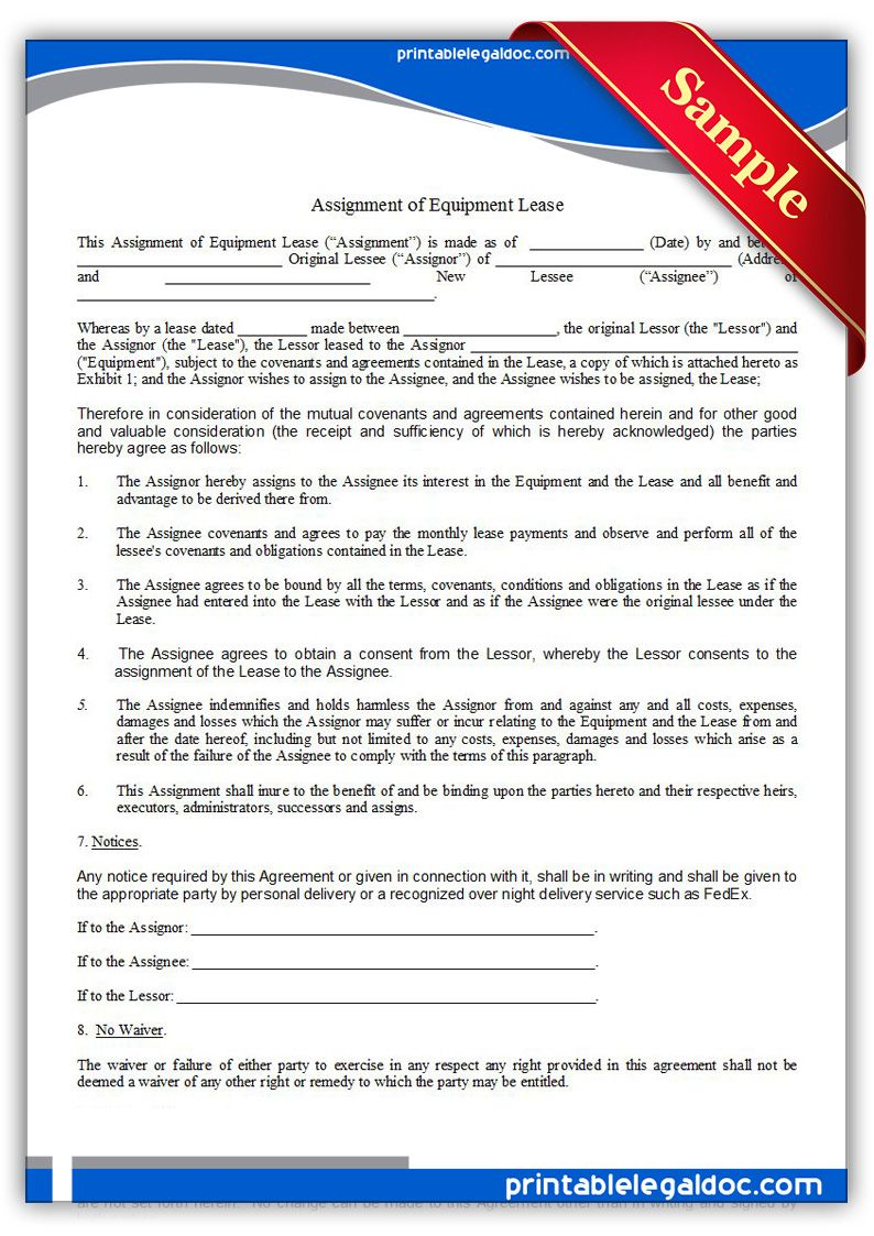 Free Printable Assignment Of Equipment Lease  Sample Printable