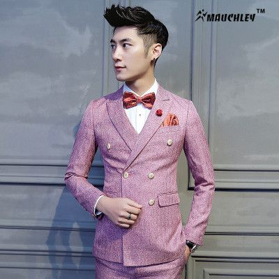 Latest Coat Pant Designs Double Breasted Suit Man Dress Pink Tuxedo