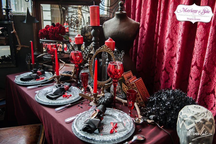 Mariage Gothique, Décoration De Table, Ambiance Rétro, Noir Et