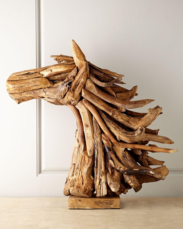 Horse Driftwood Sculpture Horchow Arte Madera Flotante Artesanias De Madera Flotante Creaciones De Madera