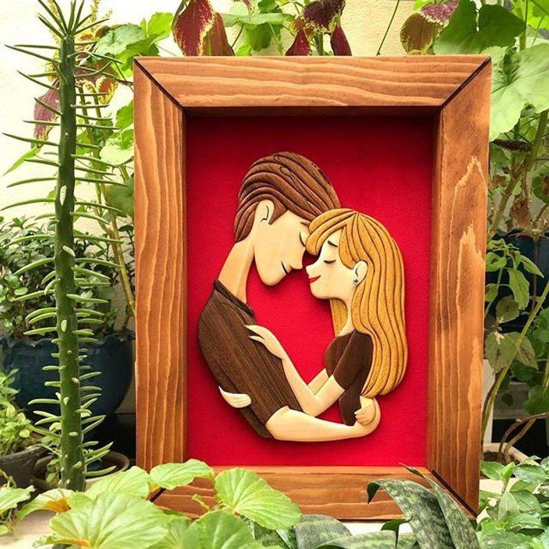 Couple gift personalized intarsia wood artwork new couple