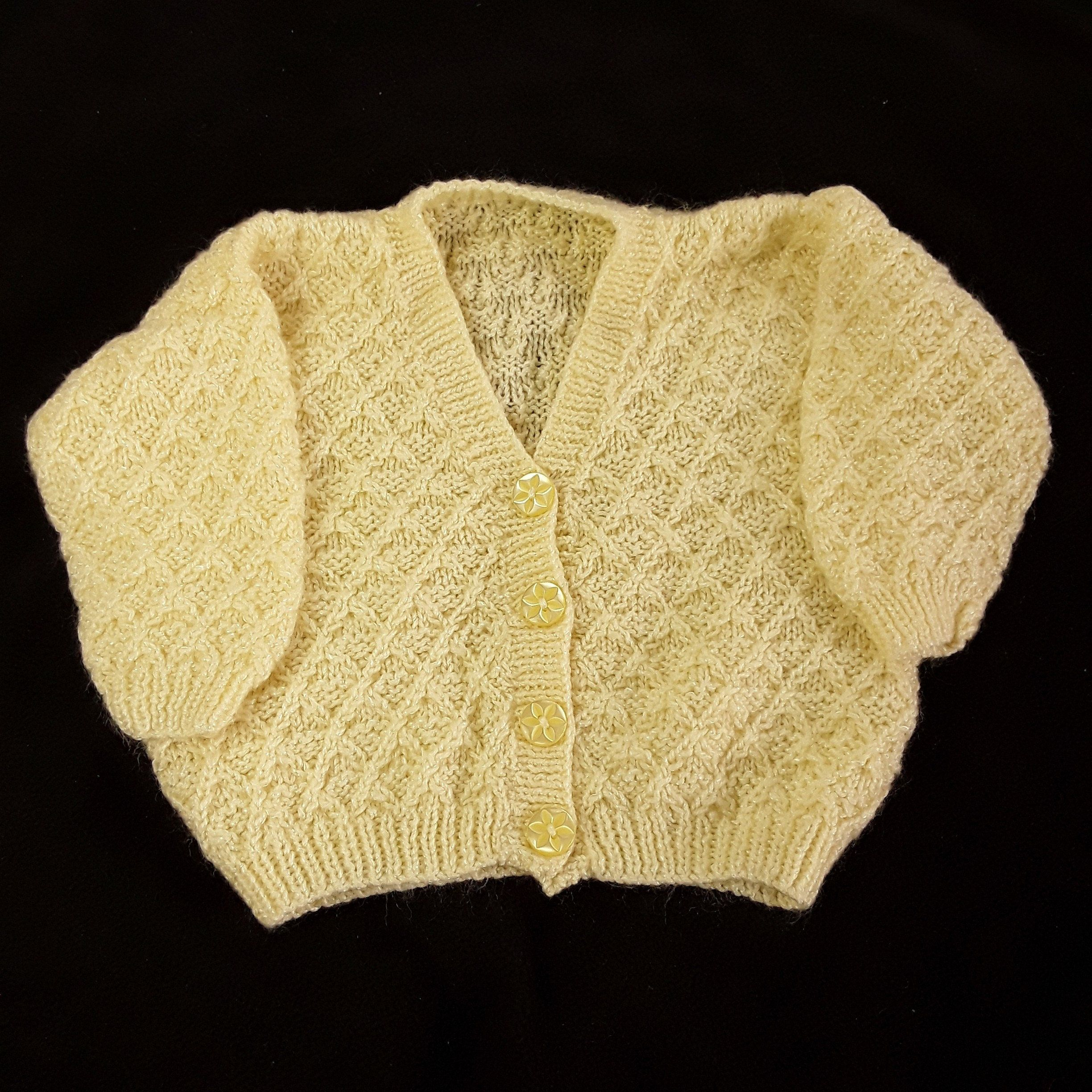 8c703a2ba Hand knitted baby cardigan to fit 22 inch chest - lemon - V neck - knitted