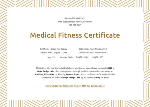 21 Medical Certificate Templates Free Word Pdf Office Work