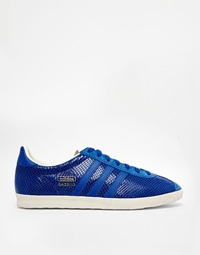 Adidas Gazelle OG Blue Leather Sneakers | Leather trainers, Adidas ...