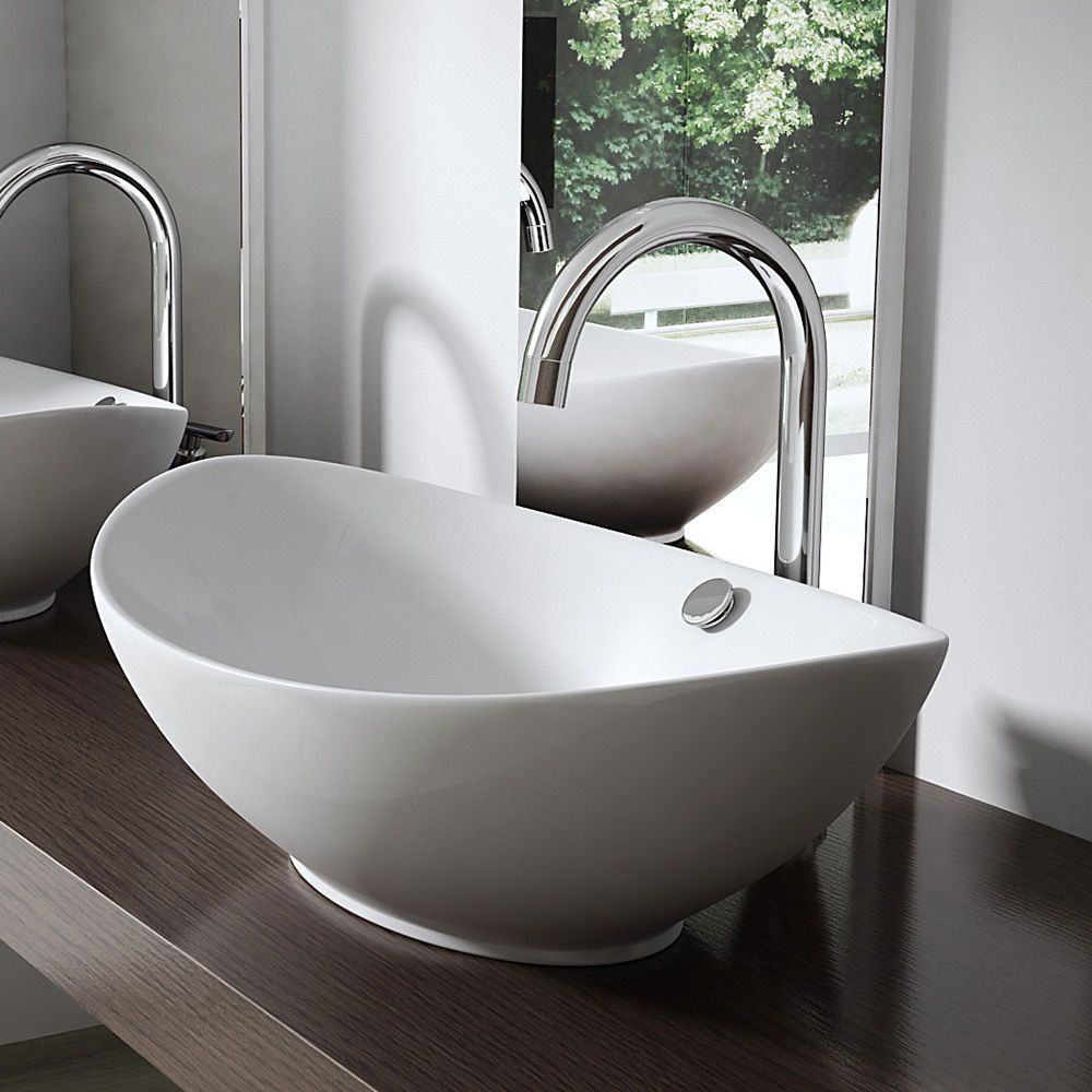 Durovin New Bathroom Ceramic CounterTop Wash Basin Sink Bowl Oval ...