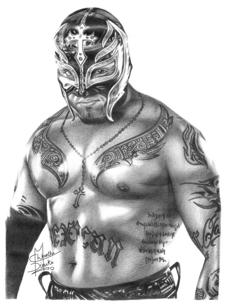 Wwe coloring pages of rey mysterio mask rey mysterio coloring pages - Wwe Rey Mysterio Pencil Drawing By Chirantha