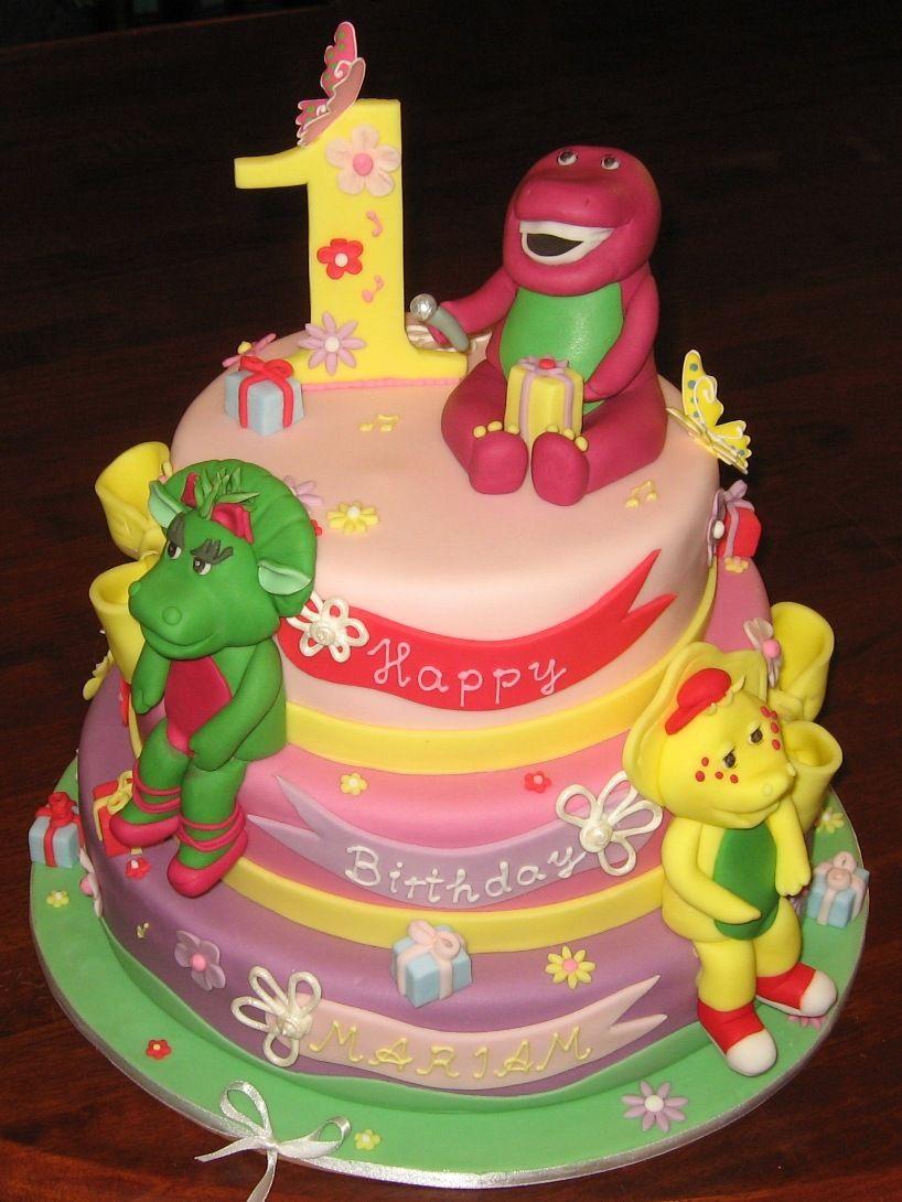 barney birthday cakes Let Them Eat Cake Three Tier Barney Cake